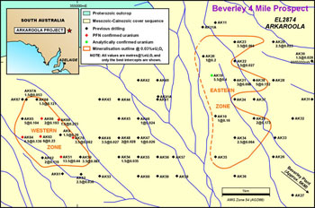Map showing recent drilling in Beverley 4-Mile outlined areas of mineralisation